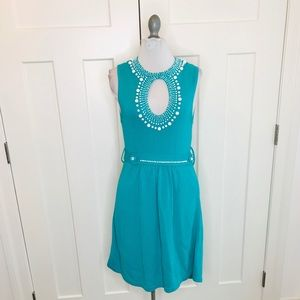 NANETTE LEPORE Teal beaded knit dress small